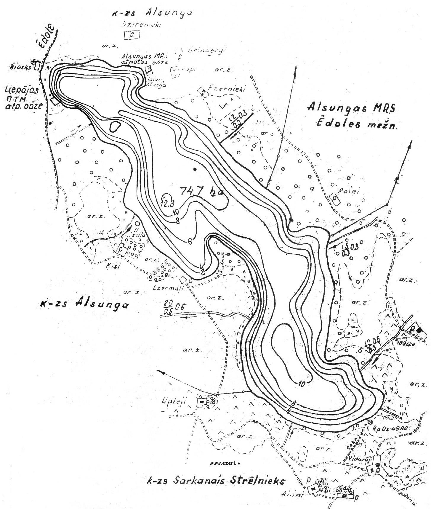 Vēsturiskā Zvirgzdu ezera karte