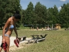 Karsta vasaras diena. Zvirgzdu ezers. Atpūtas vieta Ezermaļi Kurzemē